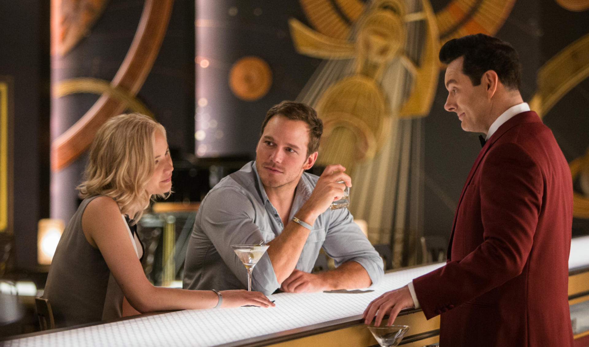 Passengers mit Jennifer Lawrence Chris Pratt und Michael Sheen