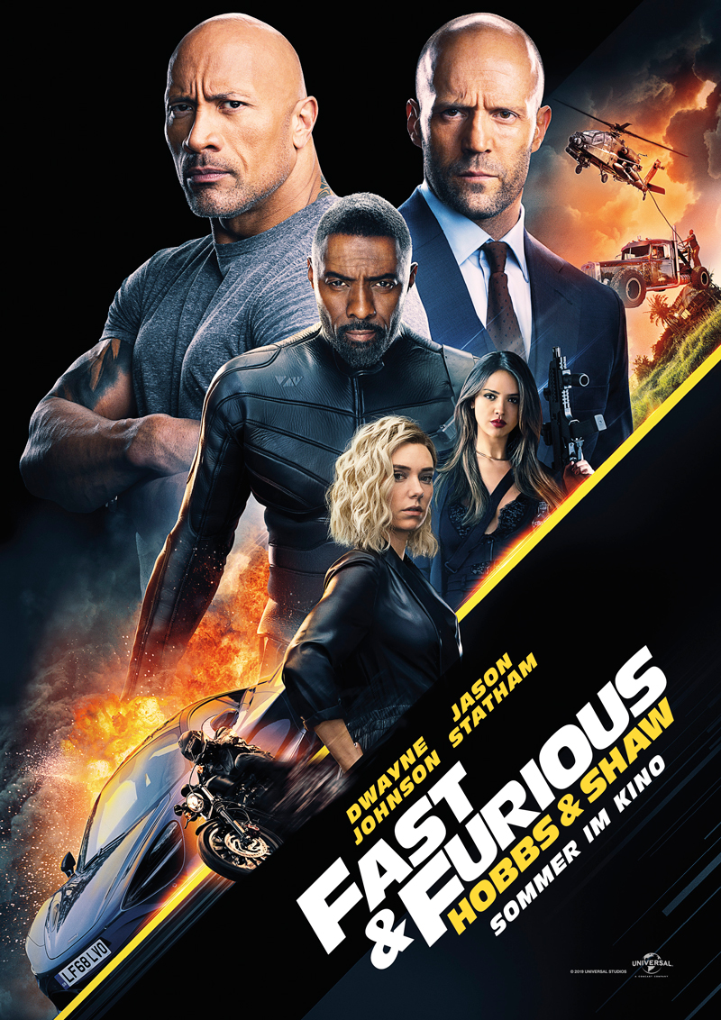 Fast and Furious Hobbs and Shaw mit Jason Statham und Dwayne Johnson und Vanessa Kirby und Idris Elba